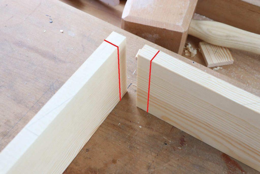Zinkung auf Gehrung Holzstärke mit dem Streichmaß anreißen