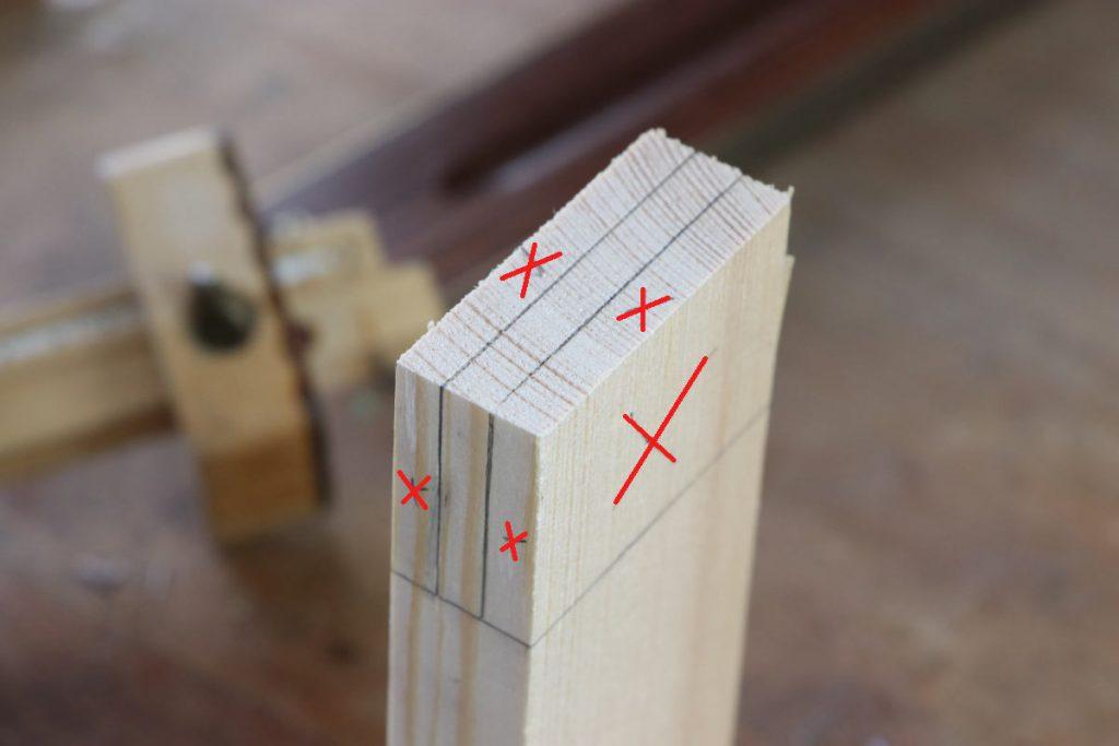 gestemmter Zapfen Holzverbindung Zapfen Abfalbereiche