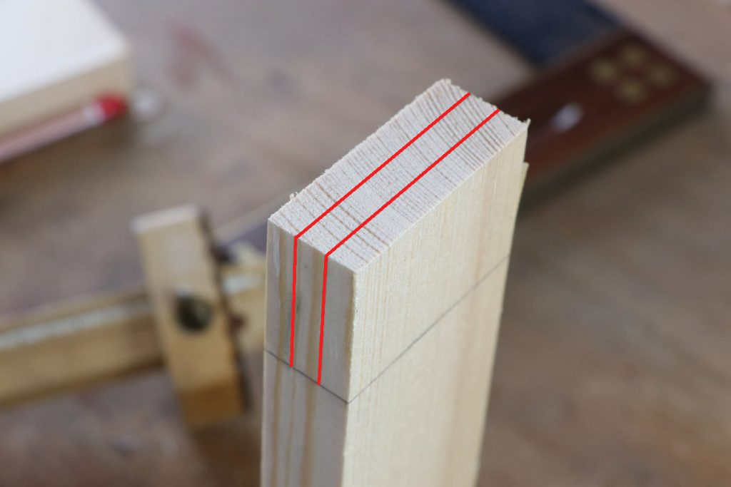 gestemmter Zapfen Holzverbindung Zapfen Drittelteilung