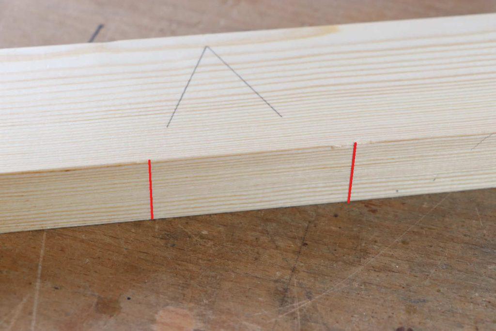 gestemmter Zapfen Holzverbindung Schreiner anreißen