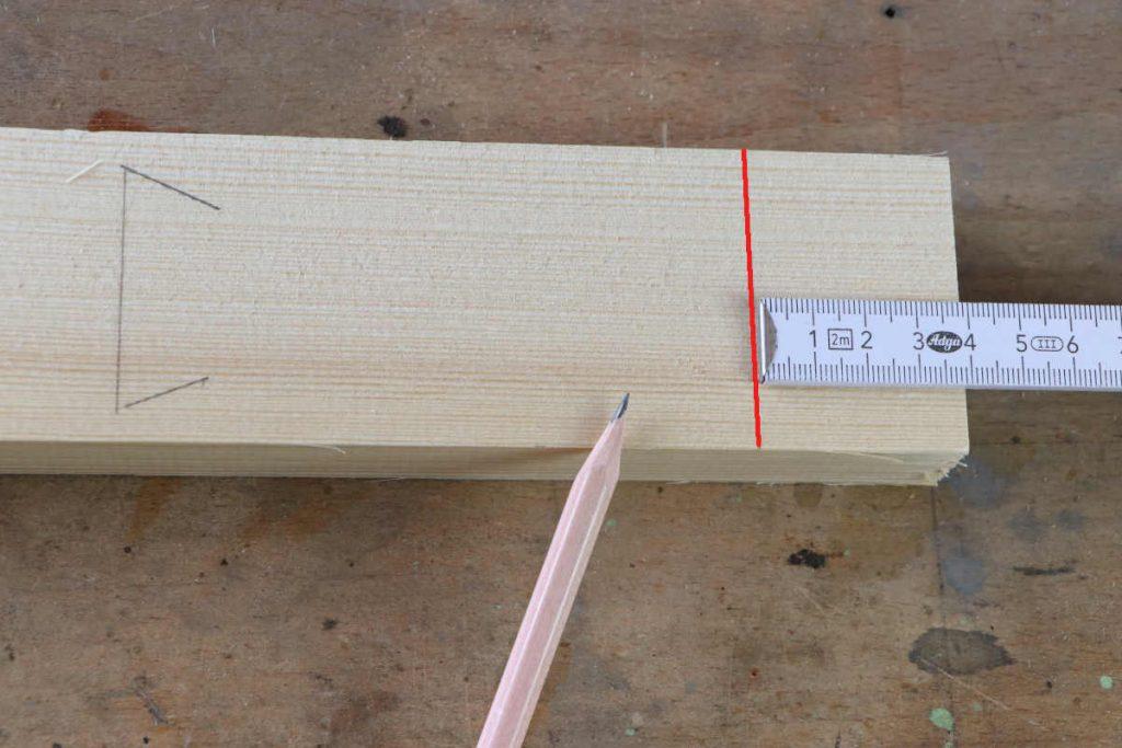 gestemmter Zapfen Holzverbindung Zapfenlänge anzeichnen