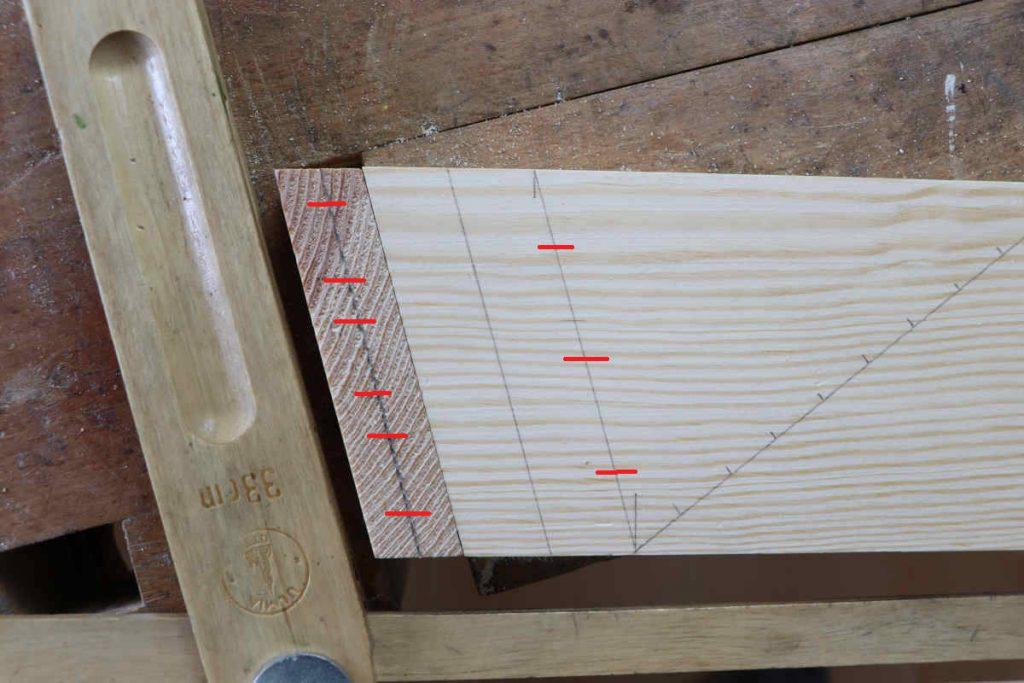 schraege zinkung schwalbenschwanz holzverbindung anreißen diagonale