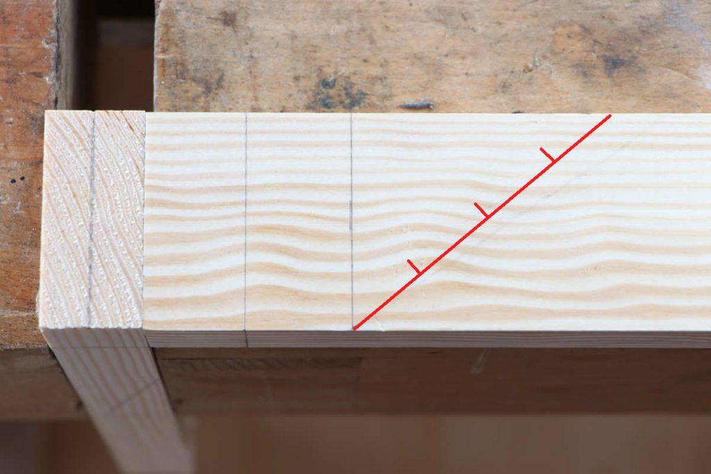 Schwalbenschwanzzapfen Schwalbenschwanzzinken Schwalenschwanzverbindung anzeichnen streckenteilung