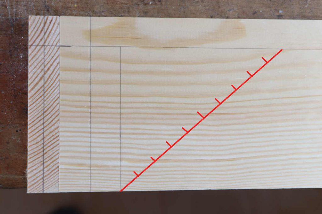 Zinkung auf Gehrung anreißen der Diagonale und Streckeneinteilung