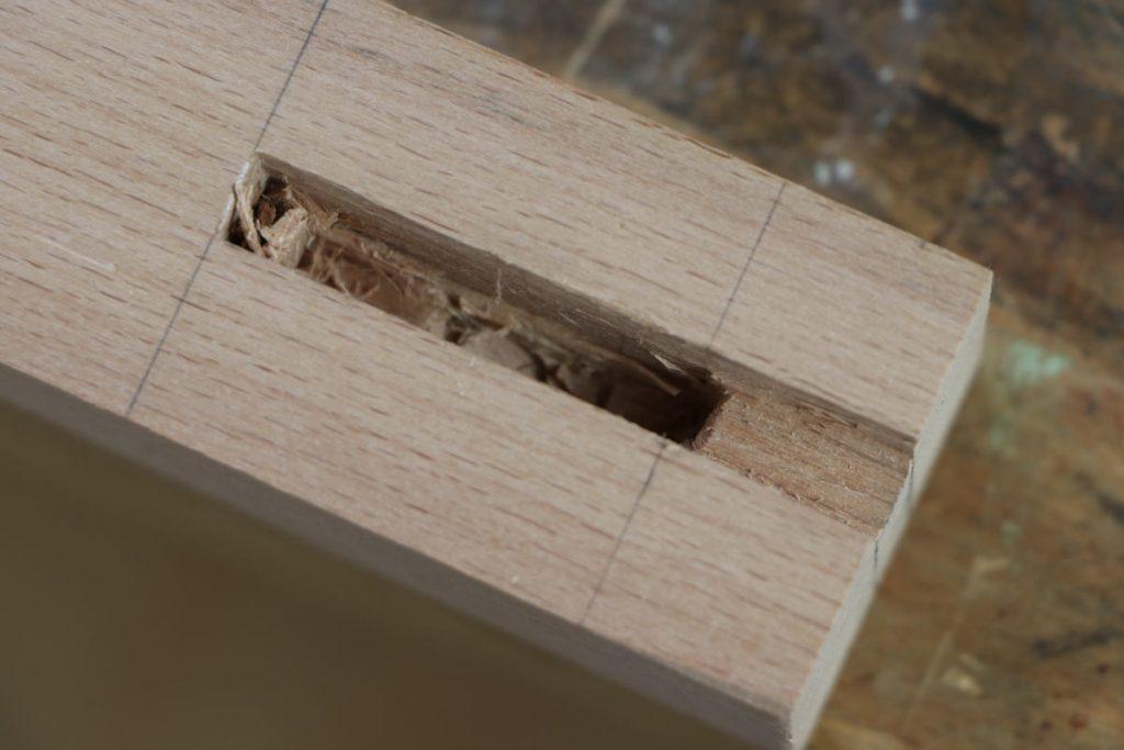 Nutzapfen ausstemmen Stecheisen Stemmeisen Stechbeitel