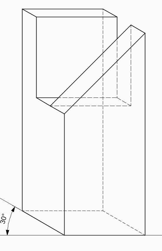 Kavalierperspektive-Prallelprojketion-Schraegbild-Schule-Schlitz-Zapfen